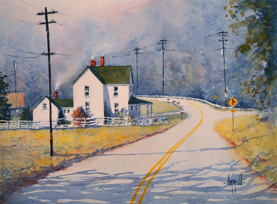 Discover Original Art by Judy Mudd | Sunday Drive watercolor painting | Art for Sale Online at UGallery