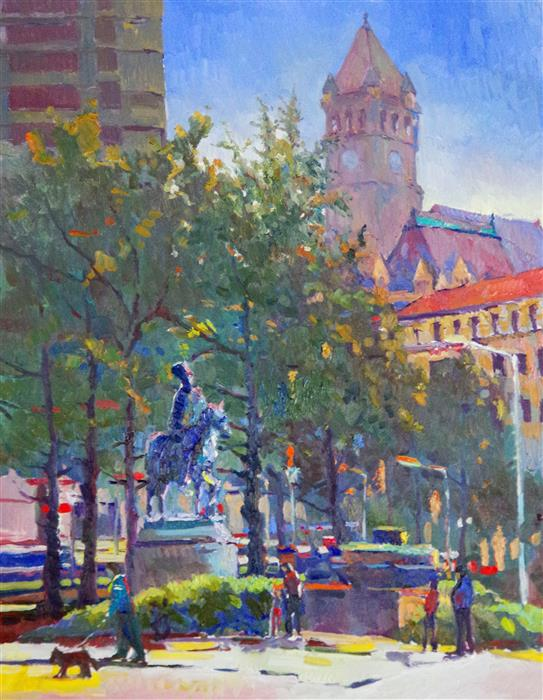 Discover Original Art by Suren Nersisyan | Summer in the Park, Washington DC, Old Post Office Building oil painting | Art for Sale Online at UGallery