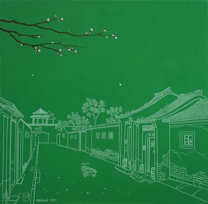 Discover Original Art by Yuan Hua Jia | Summer in Hutong oil painting | Art for Sale Online at UGallery