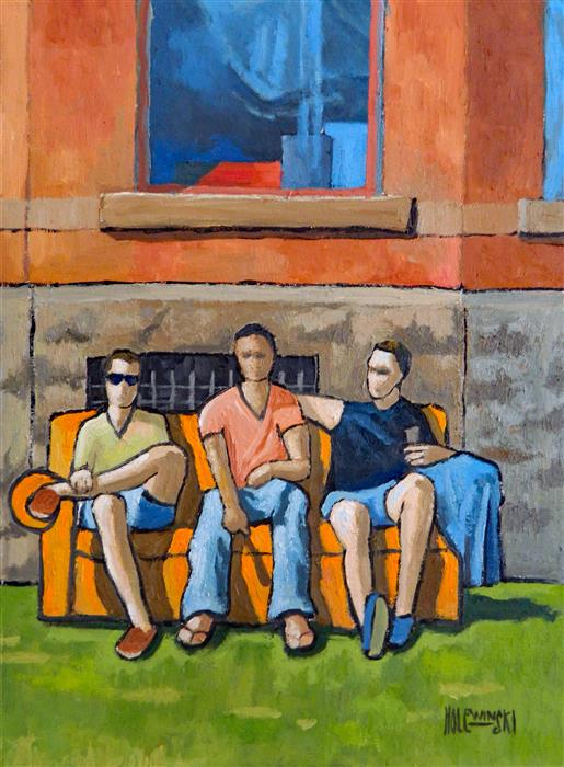Discover Original Art by Robert  Holewinski | Three Fraternity Brothers oil painting | Art for Sale Online at UGallery