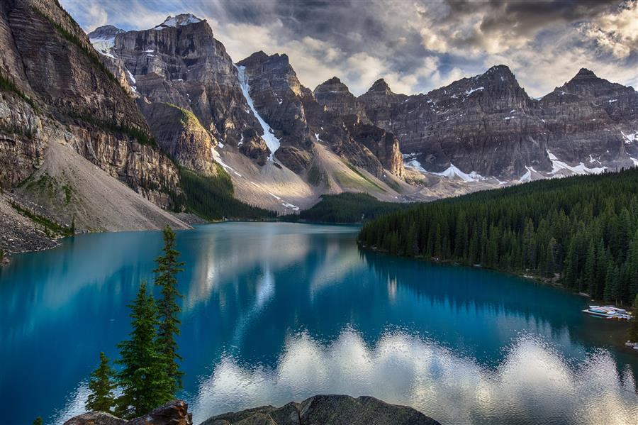 Original art for sale at UGallery.com | Moraine Lake, Sunset by JAY MOORE | $170 |  | ' h x ' w | \art\photography-Moraine-Lake-Sunset