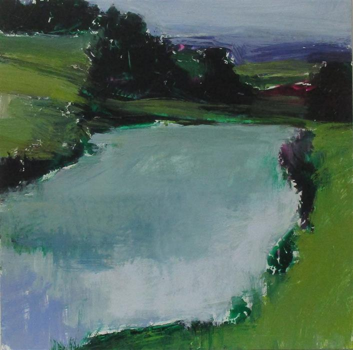 Discover Original Art by Janet Dyer | Midsomer Pond acrylic painting | Art for Sale Online at UGallery