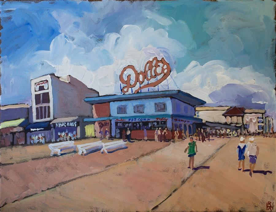 Discover Original Art by Robert Hofherr | Boardwalk  acrylic painting | Art for Sale Online at UGallery