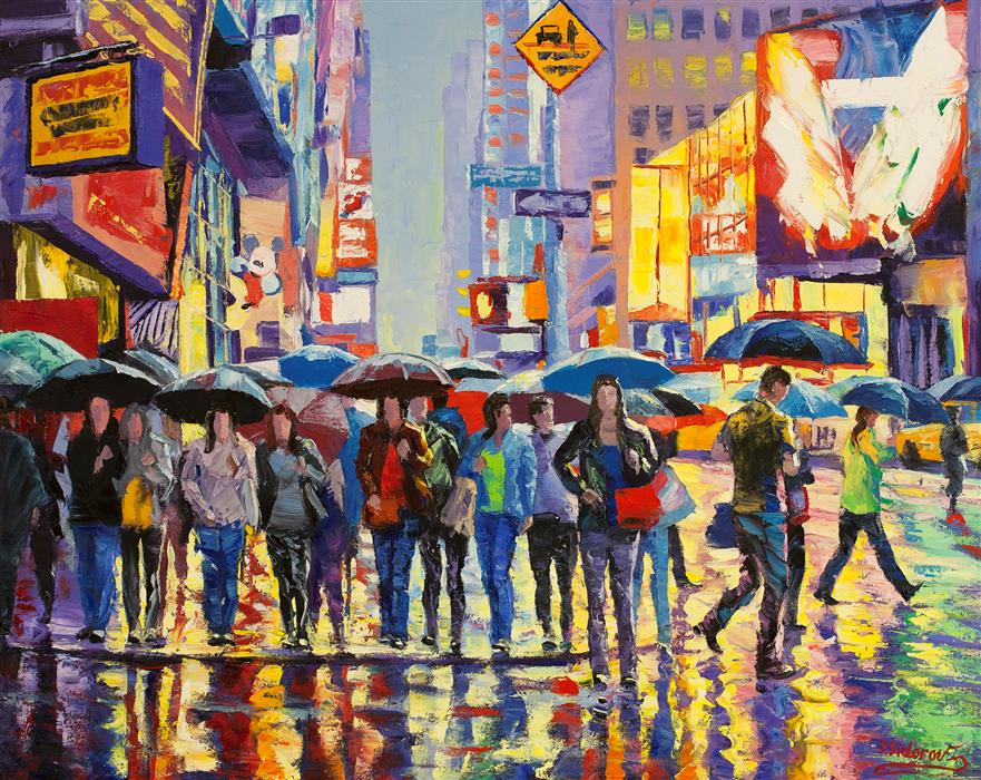 Discover Original Art by Stanislav Sidorov | Busy Morning Street, New York oil painting | Art for Sale Online at UGallery