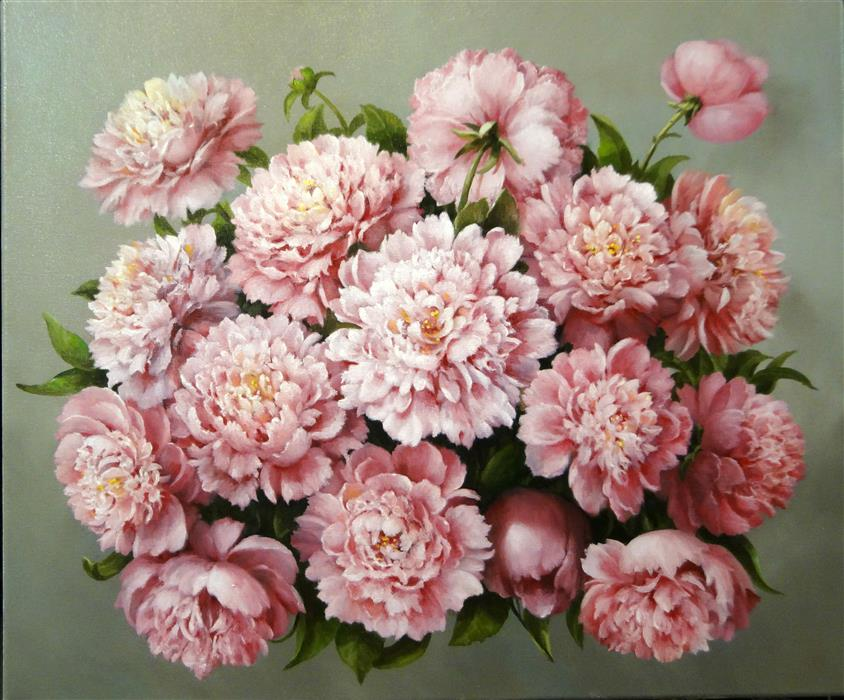 Discover Original Art by Nikolay Rizhankov | Pink Peonies oil painting | Art for Sale Online at UGallery