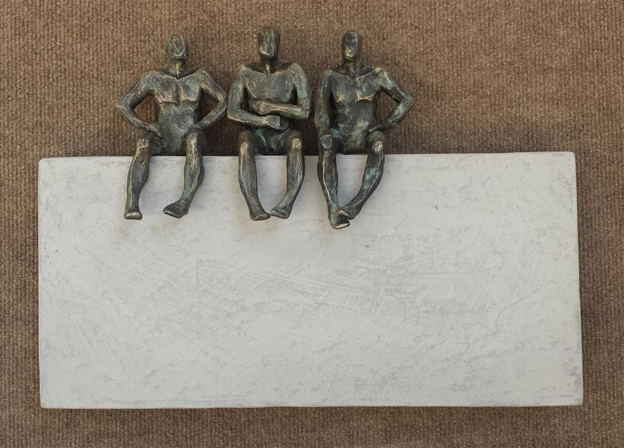 Discover Original Art by Yelitza Diaz | Small Beings Sitting on Gray sculpture | Art for Sale Online at UGallery