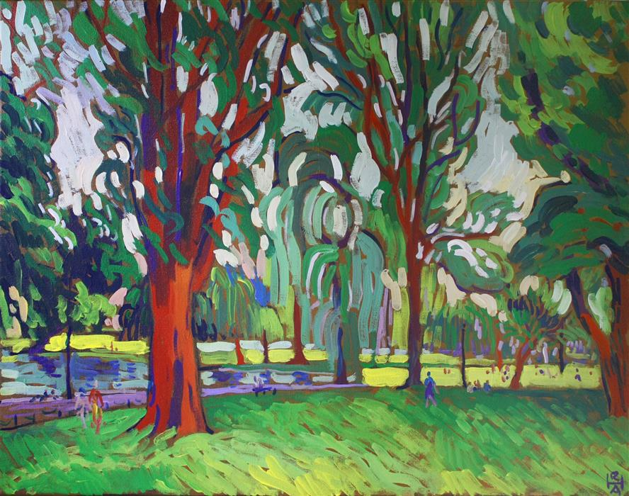 Discover Original Art by Robert Hofherr | Public Garden, Boston acrylic painting | Art for Sale Online at UGallery