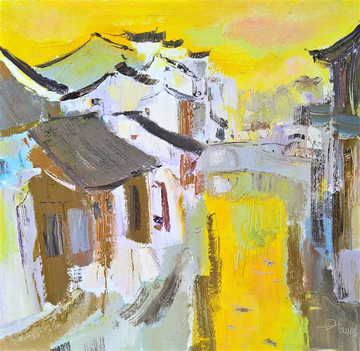 Discover Original Art by Yi Tian | Memory of My Hometown: Watercity oil painting | Art for Sale Online at UGallery
