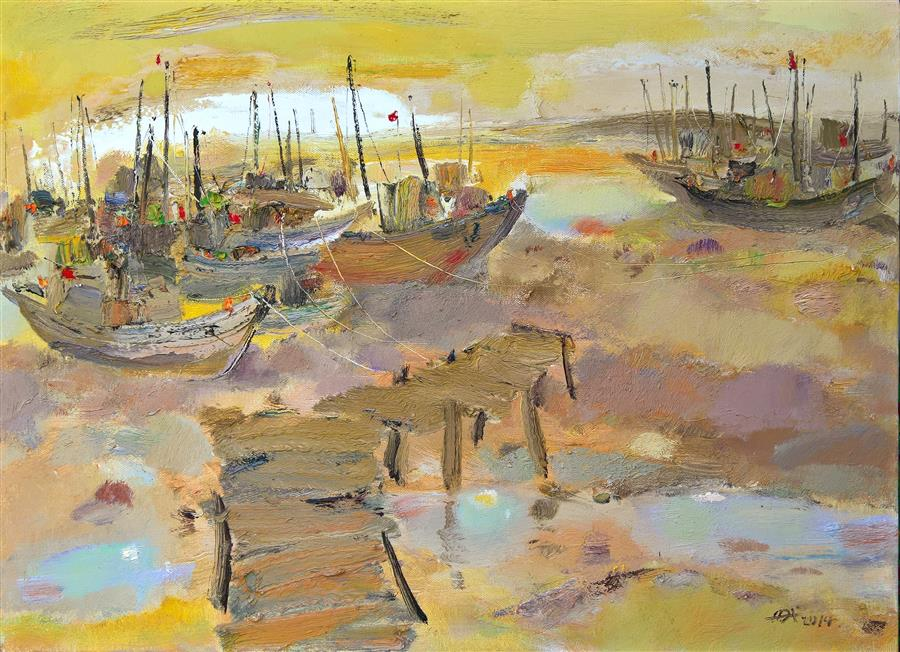 Discover Original Art by Yi Tian | Boats in the Port 2 oil painting | Art for Sale Online at UGallery