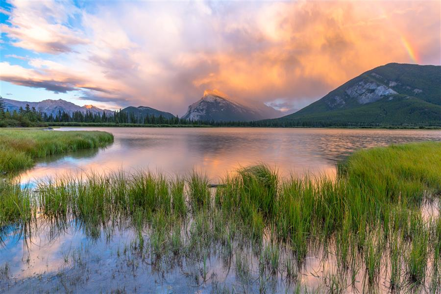 Original art for sale at UGallery.com | A Vermillion Lakes Sunset by ROSS LIPSON | $245 |  | ' h x ' w | \art\photography-A-Vermillion-Lakes-Sunset