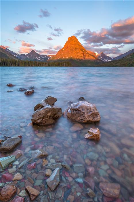 Original art for sale at UGallery.com | Two Medicine Lake Sunrise by ROSS LIPSON | $245 |  | ' h x ' w | \art\photography-Two-Medicine-Lake-Sunrise