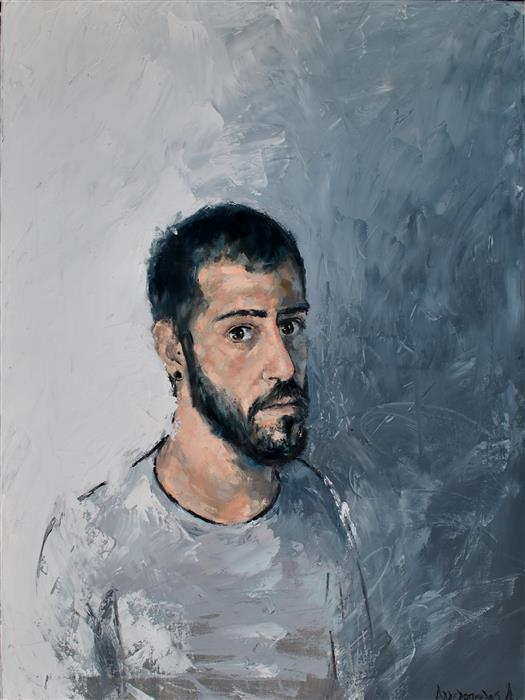 Discover Original Art by Dimitris Angelopoulos | El Dim Self Portrait oil painting | Art for Sale Online at UGallery
