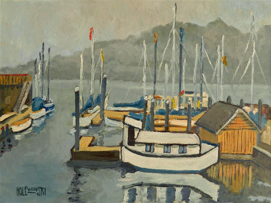 Discover Original Art by Robert  Holewinski | Houseboat oil painting | Art for Sale Online at UGallery