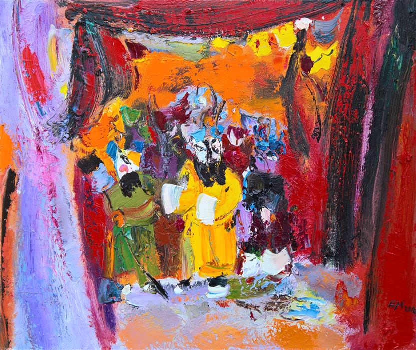 Discover Original Art by Yi Tian | Roles of Beijing Opera oil painting | Art for Sale Online at UGallery