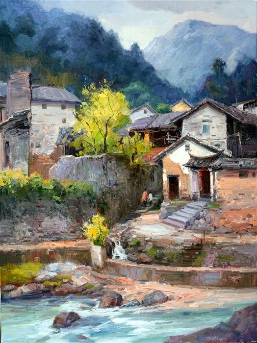 Discover Original Art by Shengnan Li | Chinese Rural Village 8 oil painting | Art for Sale Online at UGallery