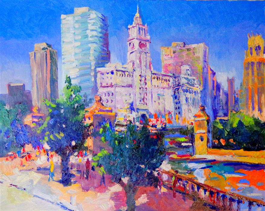 Discover Original Art by Suren Nersisyan | Chicago, Wrigley Building (Sunny Day) oil painting | Art for Sale Online at UGallery