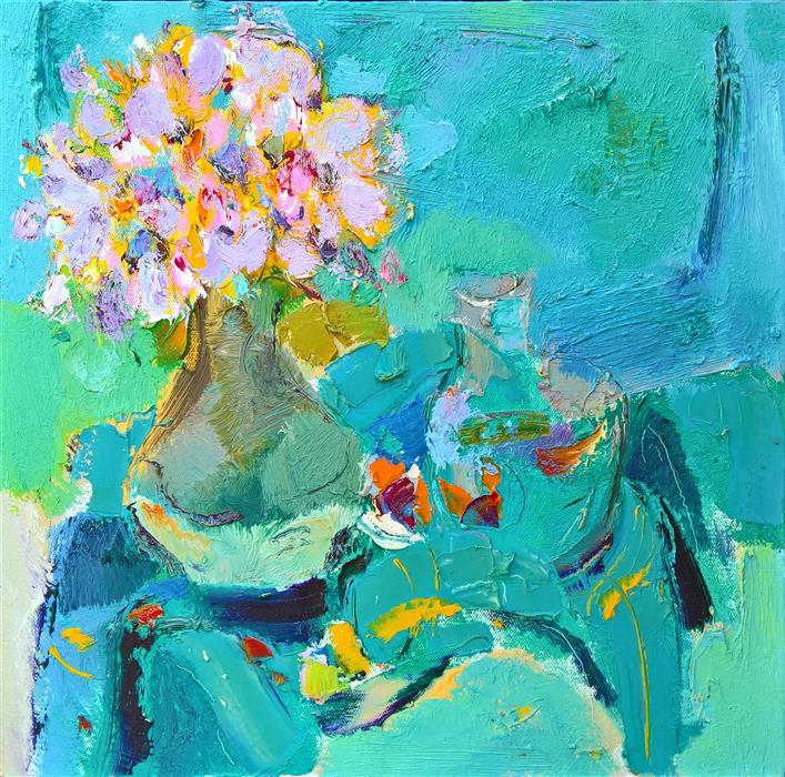 Discover Original Art by Yi Tian | Flowers in the Vase 2 oil painting | Art for Sale Online at UGallery
