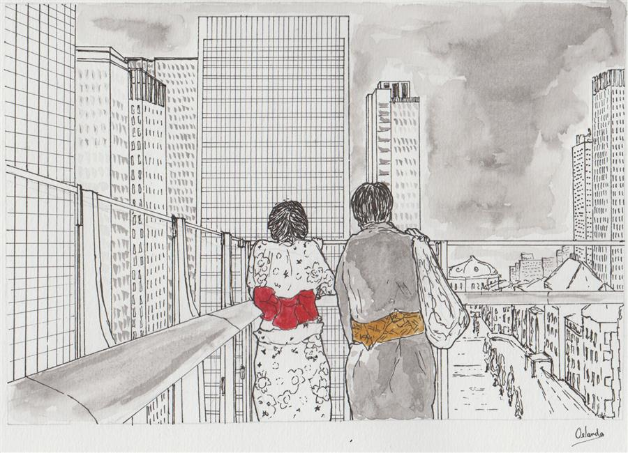 Discover Original Art by Orlando Marin-Lopez | Lovers at a Modern Balcony - Tokyo ink artwork | Art for Sale Online at UGallery