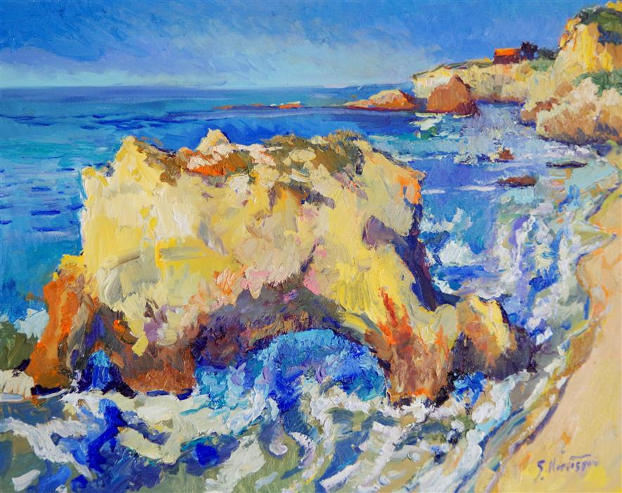 Discover Original Art by Suren Nersisyan | El Matador Beach, Sunny Day oil painting | Art for Sale Online at UGallery