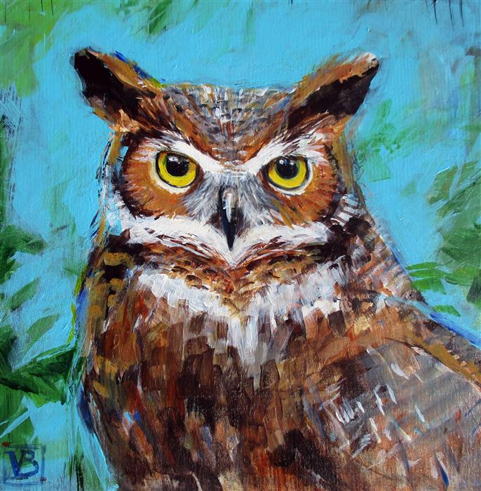Discover Original Art by Victoria Bearden | Great Horned Owl acrylic painting | Art for Sale Online at UGallery