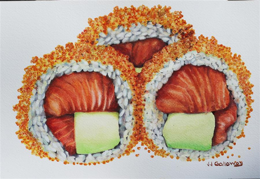 Discover Original Art by JJ Galloway | Sushi Rolled in Masago watercolor painting | Art for Sale Online at UGallery