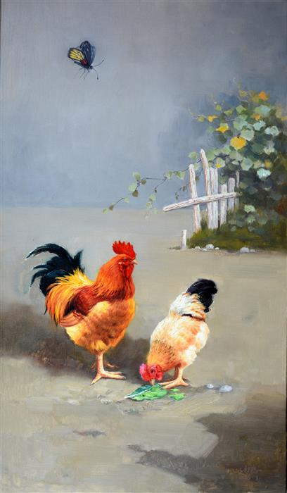 Discover Original Art by Shengnan Li | Chickens 2 oil painting | Art for Sale Online at UGallery