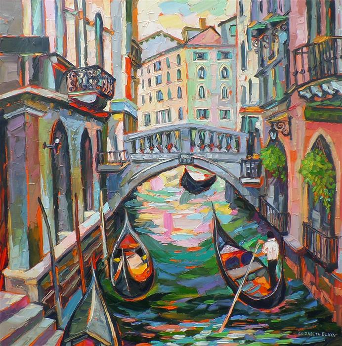 Discover Original Art by Elizabeth Elkin | Gondola Rides oil painting | Art for Sale Online at UGallery