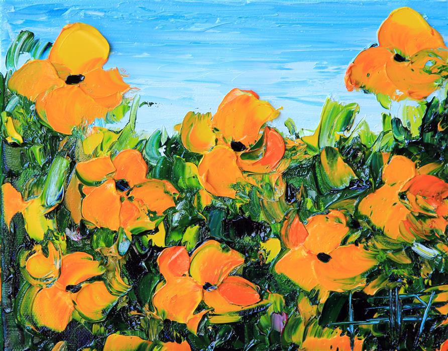 Discover Original Art by Lisa Elley | California Golden Poppies oil painting | Art for Sale Online at UGallery