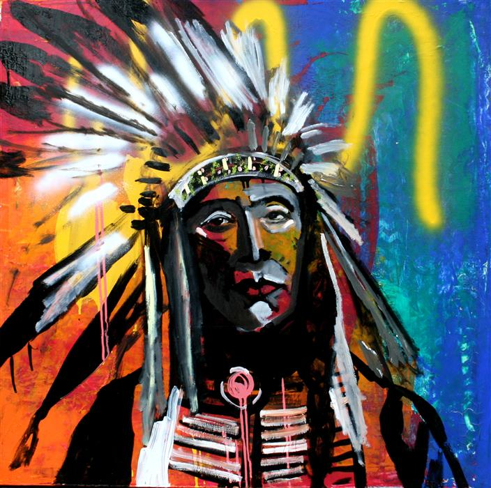 Discover Original Art by Scott Dykema | A Decorated Chief 2 mixed media artwork | Art for Sale Online at UGallery