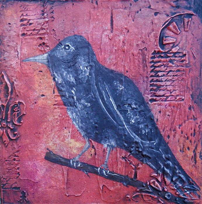Discover Original Art by Laura Carter | Blackbird II acrylic painting | Art for Sale Online at UGallery