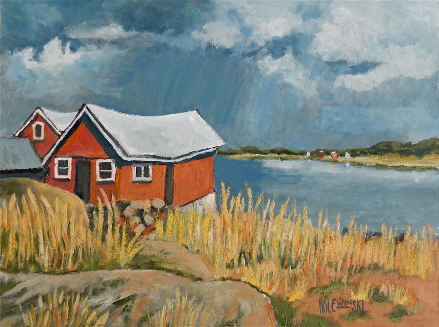 Discover Original Art by Robert  Holewinski | Red Shack oil painting | Art for Sale Online at UGallery