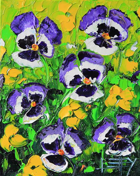 Discover Original Art by Lisa Elley | Precious Pansies oil painting | Art for Sale Online at UGallery