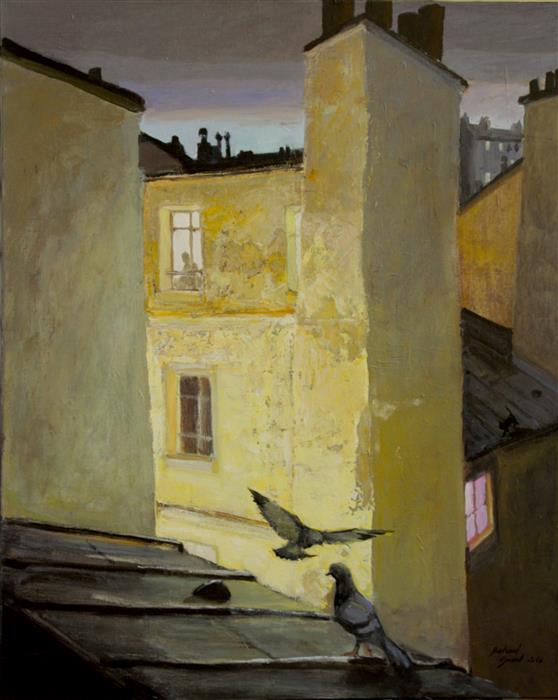 Discover Original Art by Bertrand Girard | Parisian Roofs acrylic painting | Art for Sale Online at UGallery