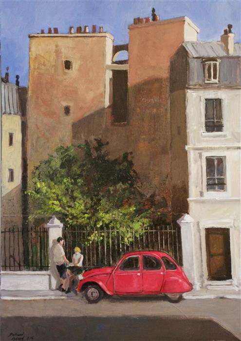 Discover Original Art by Bertrand Girard | The Red Citroën acrylic painting | Art for Sale Online at UGallery
