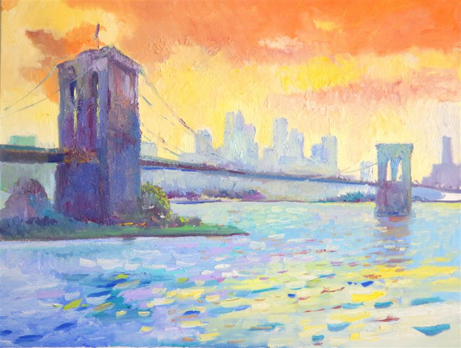 Discover Original Art by Suren Nersisyan | Brooklyn Bridge in Early Morning (Orange Clouds) oil painting | Art for Sale Online at UGallery