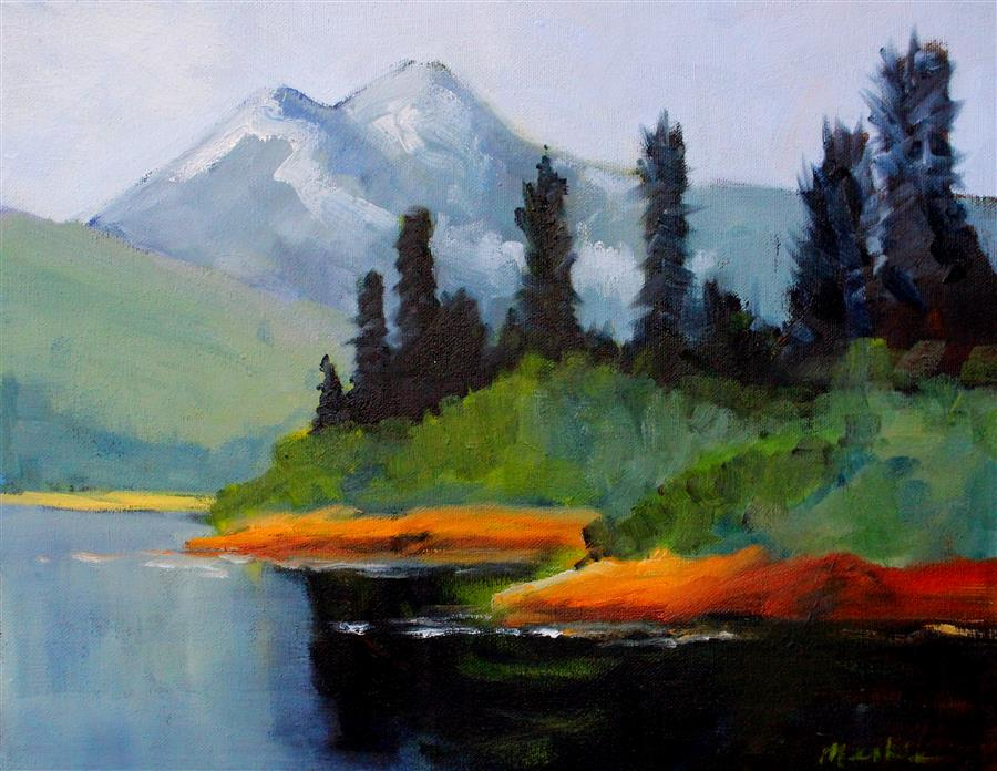 Discover Original Art by Nancy Merkle | Cascade View oil painting | Art for Sale Online at UGallery