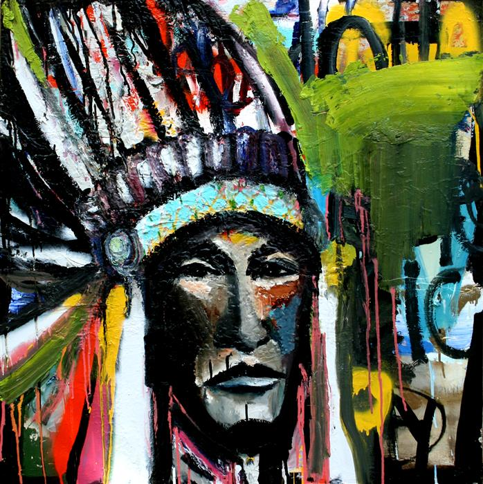Discover Original Art by Scott Dykema | A Decorated Chief Of Wisdom mixed media artwork | Art for Sale Online at UGallery