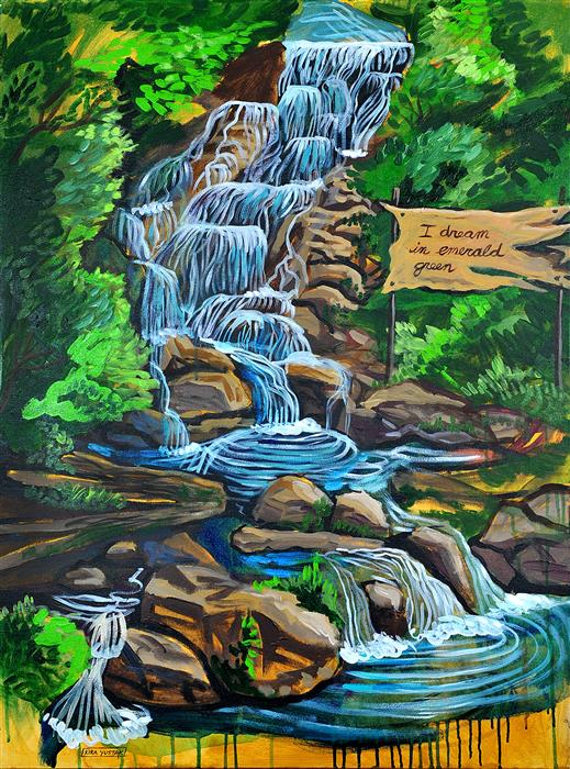Discover Original Art by Kira Yustak | Waterfall acrylic painting | Art for Sale Online at UGallery