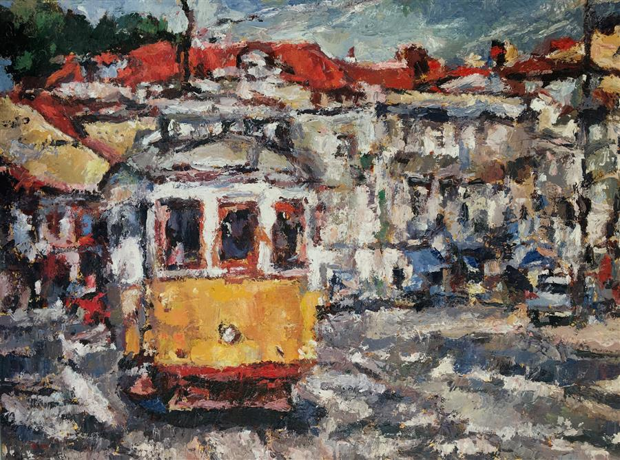 Discover Original Art by Nava Lundy | Taking the Trolley acrylic painting | Art for Sale Online at UGallery