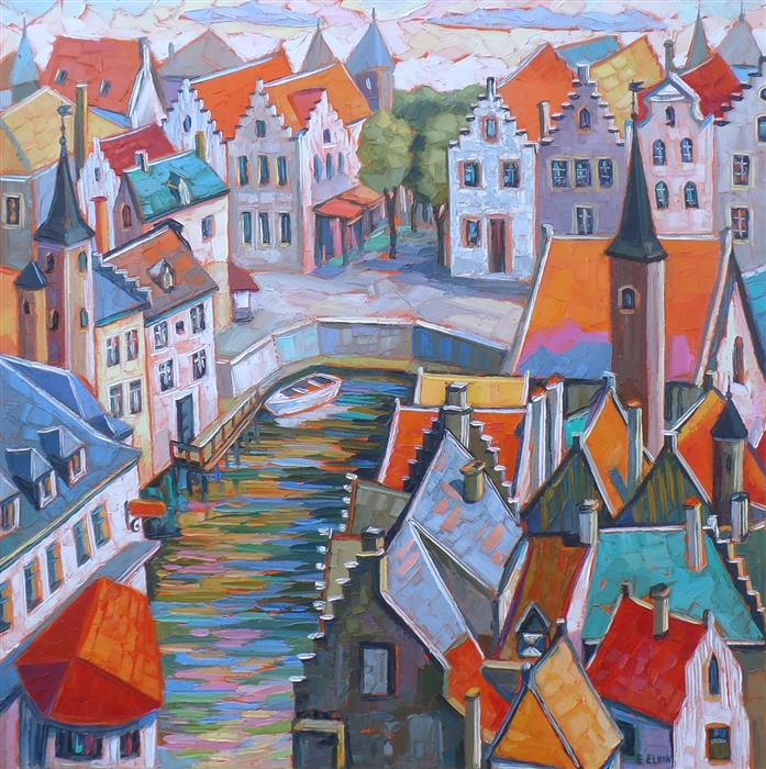 Discover Original Art by Elizabeth Elkin | Fairytale Town, Brugge oil painting | Art for Sale Online at UGallery