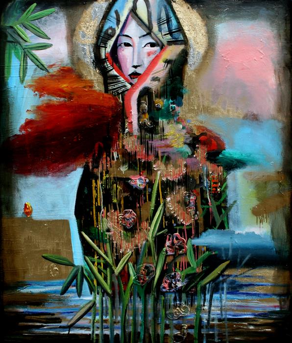 Discover Original Art by Scott Dykema | A Quiet Covered Geisha mixed media artwork | Art for Sale Online at UGallery