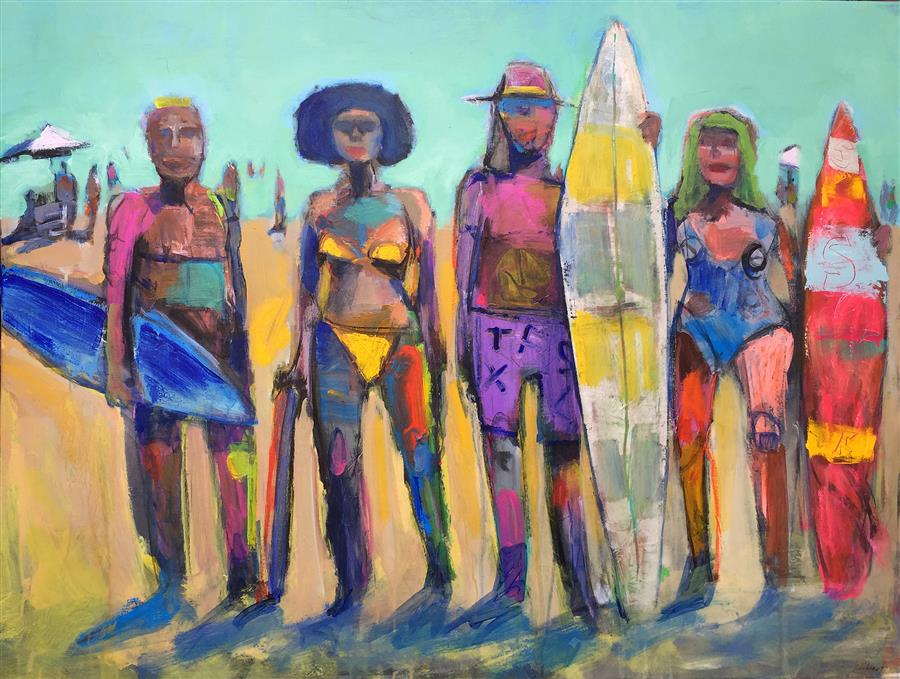 Discover Original Art by Allen Wittert | Surf Lovers acrylic painting | Art for Sale Online at UGallery