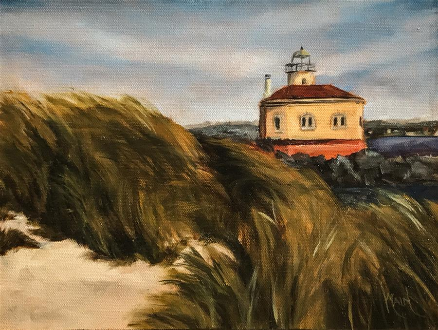 Discover Original Art by Mandy Main | Vintage Lighthouse oil painting | Art for Sale Online at UGallery