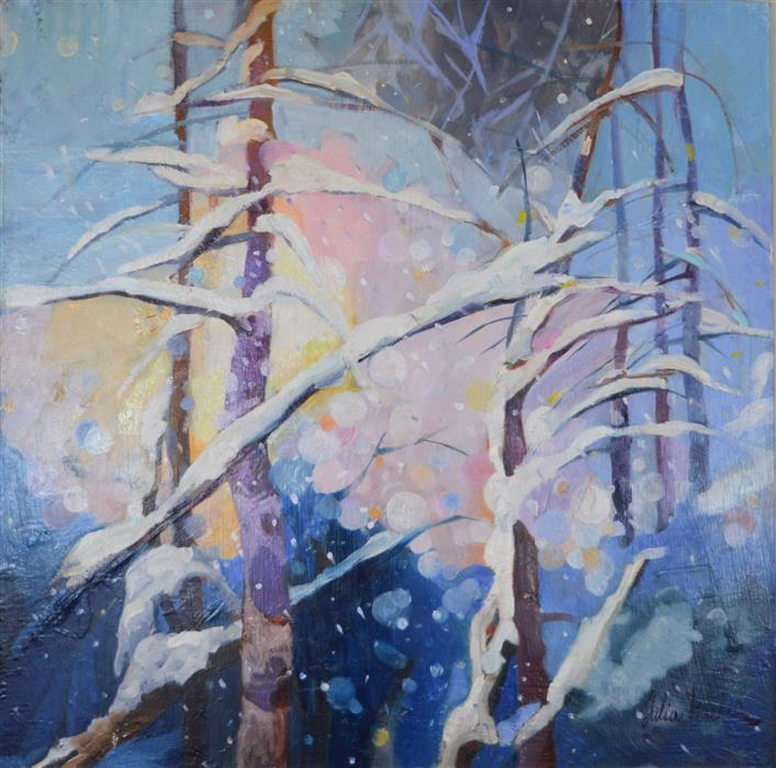 Discover Original Art by Julia  Hacker | Welcome Snow 5 oil painting | Art for Sale Online at UGallery