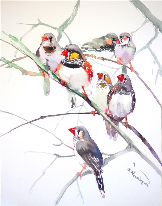 Discover Original Art by Suren Nersisyan | Zebra Finches (Vertical) watercolor painting | Art for Sale Online at UGallery
