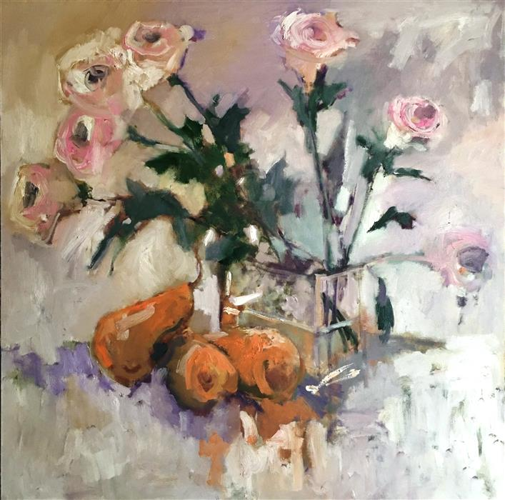 Discover Original Art by Mary Pratt | Pears and Roses oil painting | Art for Sale Online at UGallery
