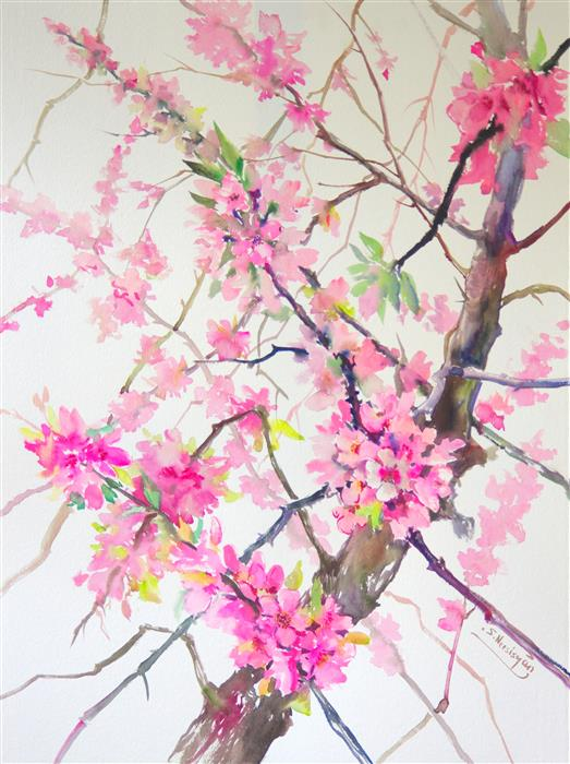 Discover Original Art by Suren Nersisyan | Cherry Blossom (Vertical) watercolor painting | Art for Sale Online at UGallery