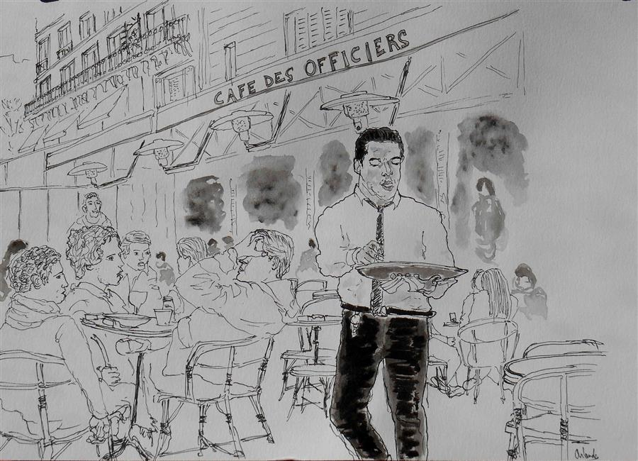 Discover Original Art by Orlando Marin-Lopez | Cafe de Paris 3 ink artwork | Art for Sale Online at UGallery