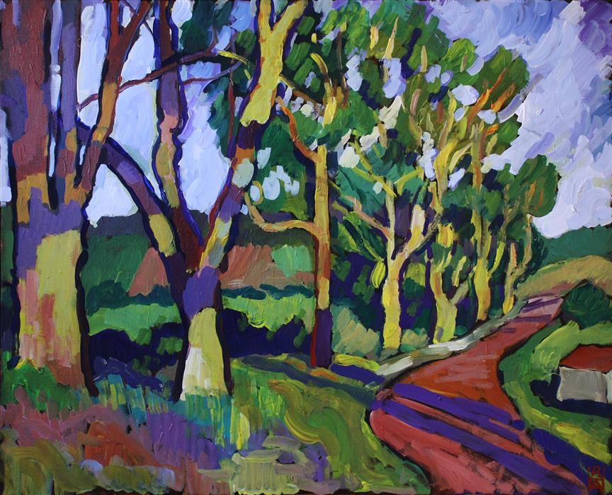 Discover Original Art by Robert Hofherr | Road with Large Trees acrylic painting | Art for Sale Online at UGallery