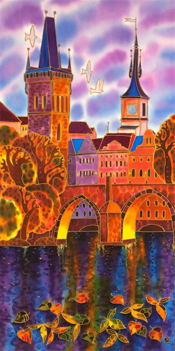 Discover Original Art by Yelena Sidorova | Charles Bridge, Lilac Evening, Prague mixed media artwork | Art for Sale Online at UGallery